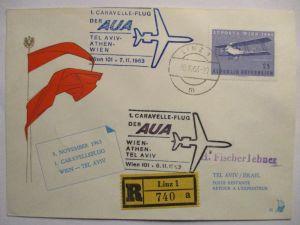 Österreich AUA Erstflug R-Brief Wien Israel 1963 (41646)