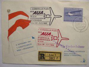 Österreich AUA Erstflug R-Brief Wien Stockholm 1963 (57348)