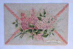 Geburtstag, Blumen, Flieder,    1907, Prägekarte ♥  (3283)