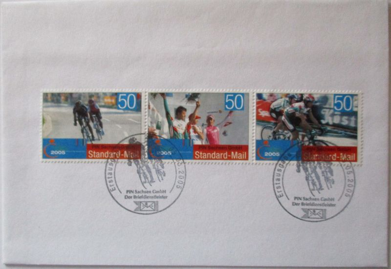 Privatpost Pin Mail, Fahrrad Radrenn Brief 2005 (57146)