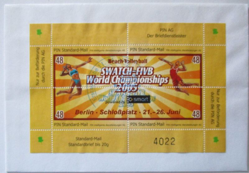 Privatpost Pin Mail, Swatch FIVB World Championships 2005  Brief (37100)