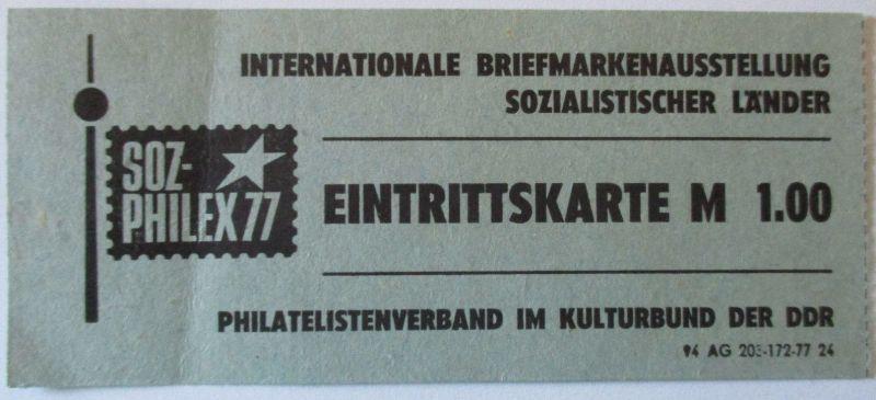 Eintrittskarte Briefmarkenausstellung Soz-Philex 1977 (29892)