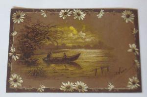 Landschaft, See, Boot,  Blumen, Abend,    1900,   Prägekarte  ♥  (8241)