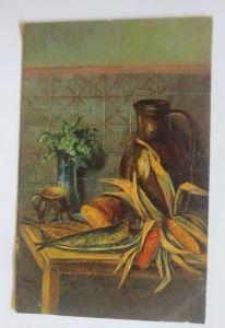 Künstlerkarte,  Erntedankfest,  Mais, Fisch, Brot, 1908,   Prägekarte  ♥  (8245)