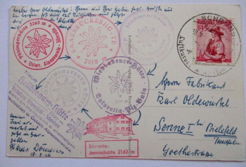 Österreich, Tübingerhütte, Karte 1952 mit versch. Hütten-Stempeln (41165)