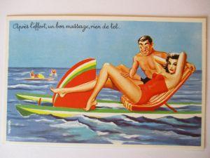 Meer, Strand, Baden, Erotik, Tretboot, ca. 40er Jahre (11794)