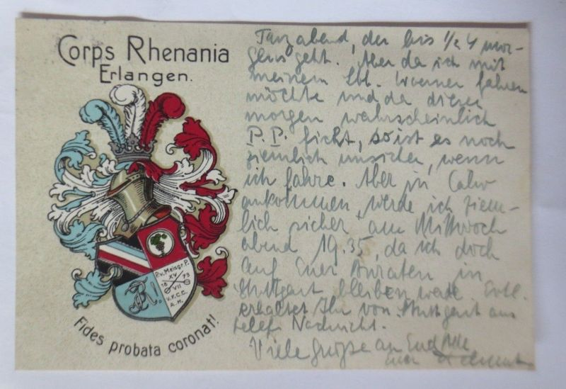 Studentika, Corps Rhenania Erlangen, Wappen, 1931  ♥  (24338)