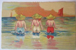 Meer, Strand, Baden, Künstlerkarte ca. 40er Jahre (4834)