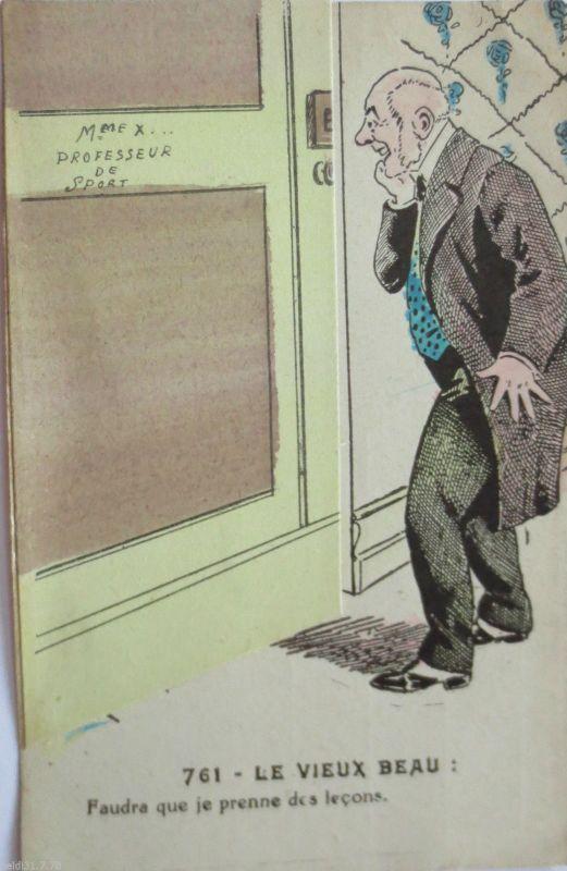 Mann, Frau, Erotik, Nackt, Klappkarte, Scherzkarte, ca. 1918 (23361)