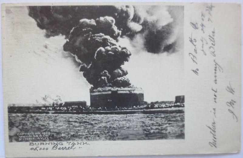 Öl, Erdölförderung, Oil, Burning Tank Findlay Ohio 1906 (19845)