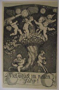 Künstlerkarte Heroux, Neujahr, Engel, Sternschnuppen (4317)