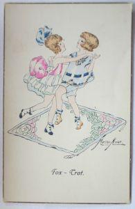 Künstlerkarte, Kinder Tanz Fox Trot, sign. Kurt Maison (21215)