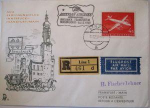 AUA Austrian Airlines Erstflug Innsbruck Frankfurt 1959 (8826)