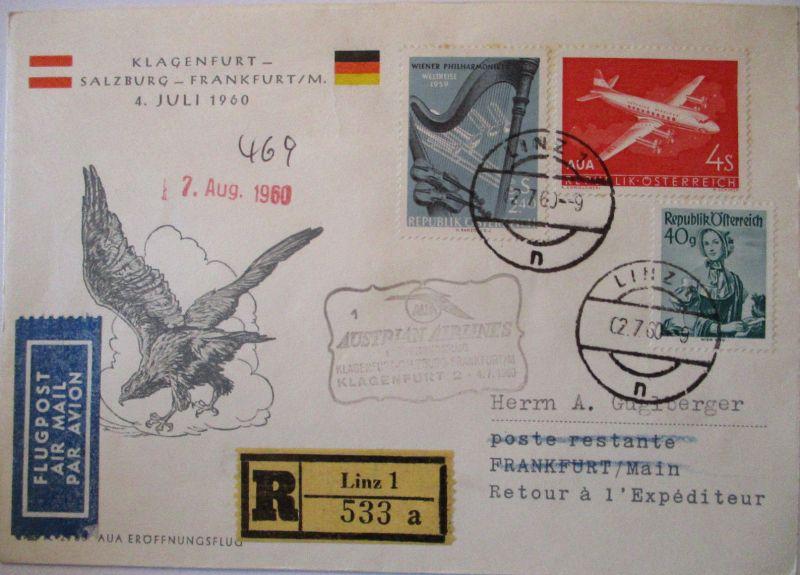 AUA Austrian Airlines Erstflug Salzburg Frankfurt 1960 (49820)