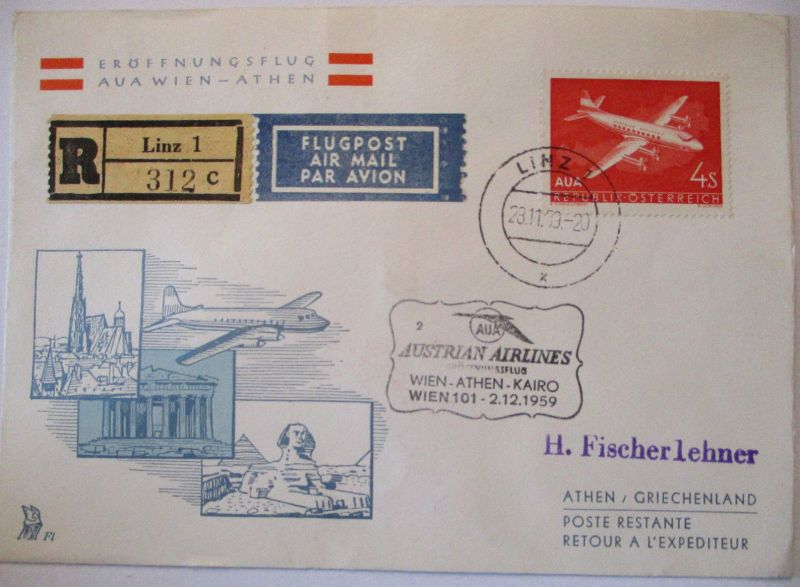 AUA Austrian Airlines Erstflug Wien Athen 1959 (19880)
