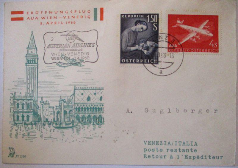 AUA Austrian Airlines Erstflug Wien Venedig 1960 (26156)