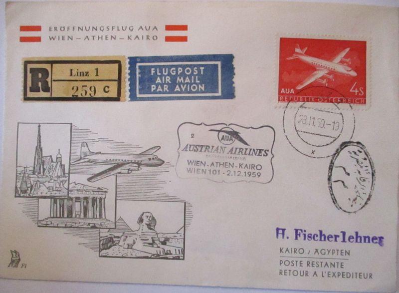 AUA Austrian Airlines Erstflug Wien Athen Kairo 1959 (39439)