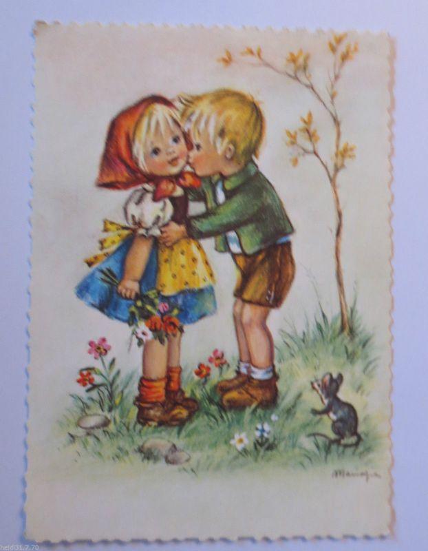 Kinder, Blumen, Maus, Wiese\