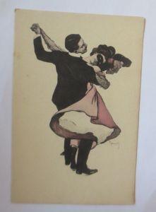 Künstlerkarte, Männer, Frauen,Tanzen, Simplicissimus-Karte,1908,Reznicel♥(38671)