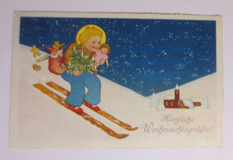 Weihnachtsgrüße Christkind.Weihnachten Christkind Ski Spielzeug Kirche 1930 50445