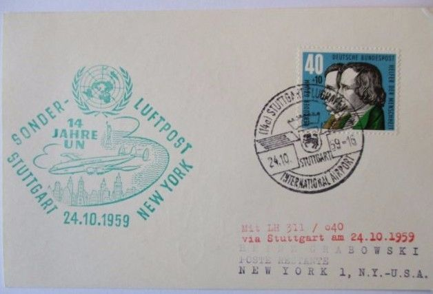 Flugpost, Sonder Luftpost 14 Jahre UN Stuttgart-New York 1959 (20992)