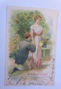 Künstlerkarte, Frauen, Männer, Mode,  O Zürne nicht, 1905, Prägekarte ♥  (62968)