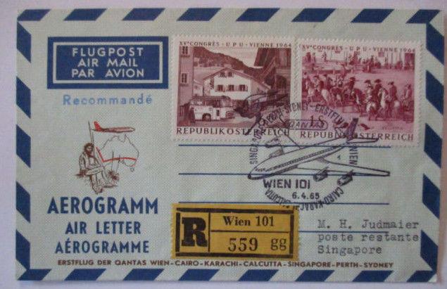 Österreich Quantas Erstflug Aerogramm Wien Kairo Karachi Singapore 1965  (6719)