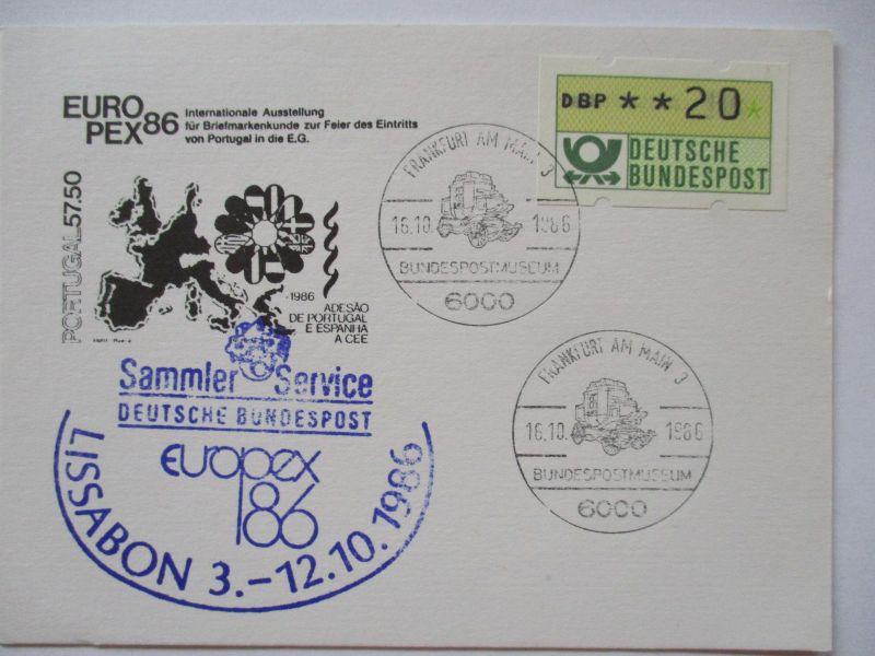 Bund, Briefmarkenausstellung Europex 1986, Bundespost Cachet (41038)