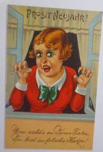 Neujahr, Man sieht´s an deiner Fratze Du bist ´ne falsche Katze, 1930 ♥ (69130)