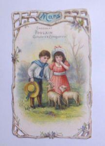Kaufmannsbilder, Oblaten,  Chocolat Poulain, Kinder, März, 1900 ♥ (61884)