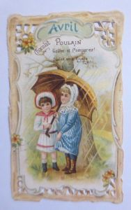 Kaufmannsbilder, Oblaten,  Chocolat Poulain,  Kinder, April  1900 ♥ (61882)