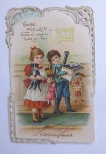 Kaufmannsbilder, Oblaten,  Chocolat Poulain,  Kinder, Januar  1900 ♥ (61881)