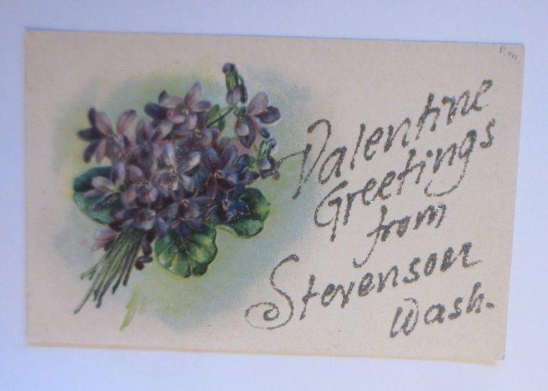 Valentinstag, Blumen, Glitzerkarte  1908, Prägekarte   ♥  (45990)