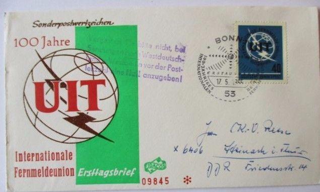 Bund, UIT FDC 1965 in die DDR mit Posthinweis-Stempel (49788)