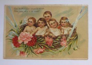 Kinder, Mode, Mohnblumen,  1908, Prägekarte ♥ (53203)
