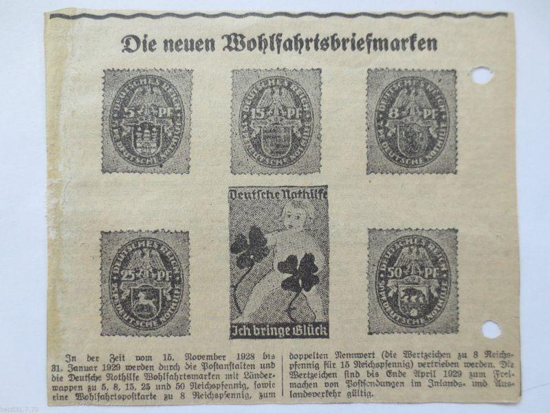 D.Reich, Wohlfahrtsmarken 1928, original Zeitungswerbung (15017)