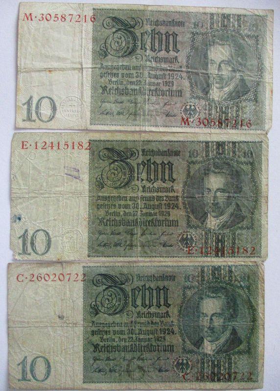 Dreimal 10 Reichsmark Reichsbanknote 20er Jahre (22203)