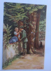 Frauen, Männer, Jäger, Blume, Hund,   1910, R. de Witt ♥  (39899)