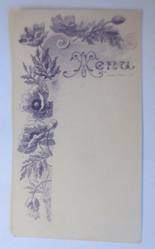 Jugendstil, Speisekarte, Menükarte, Mohnblumen, 1900 ♥ (66752)