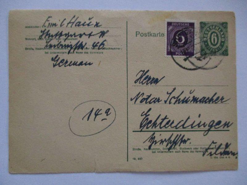 Alliierte Besetzung, Ganzsache 1946 von Stuttgart - Echterdingen (7068)