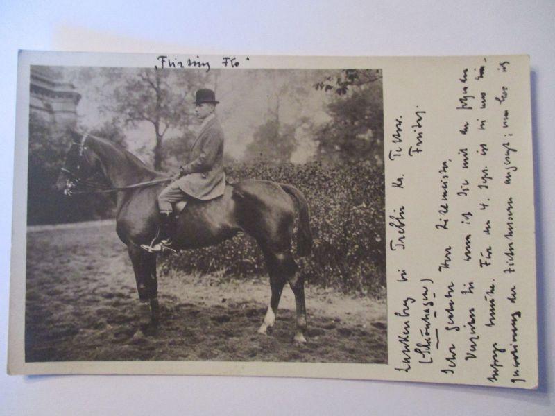 Trebbin, Teltow, Mann zu Pferd, Fotokarte 1912 (37967)