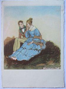 Künstlerkarte, Frau Mann Biedermeier, sign. Rolf Winkler (37421)