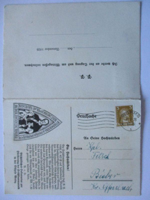 D.Reich, Diözese Mainz, Kommunion Programm 1928, Doppelkarte (39711)