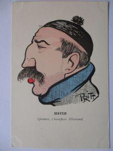 Fahrrad, Rennfahrer Mayer, Künstlerkarte sign. Pritt (429)