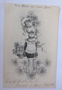 Neujahr, Frauen, Mode, Kleeblatt, 1900  ♥ (69660)