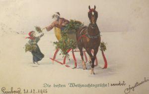 Neujahr,  Frauen, Männer, Mode, Schwein, Kleeblatt,  1902 ♥ (27634)