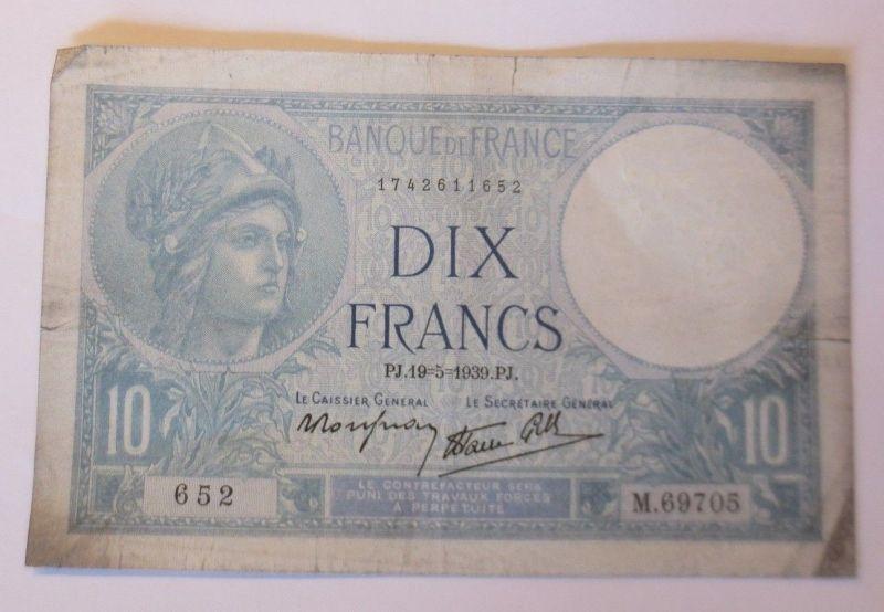 Geldschein, Frankreich, 10 Francs  1939 PJ.  M.69705     ♥ (21898)