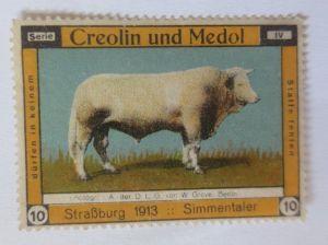 Vignetten, Creolin u. Medol für den Stall, Straßburg 1913, Simmentaler ♥ (6927)