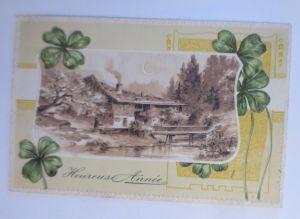 Neujahr, Haus, Landschaft, Kleeblatt,    1910, Prägekarte  ♥ (44619)