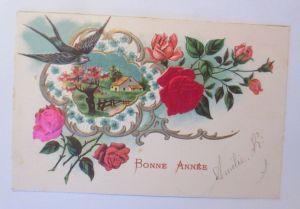Neujahr, Rosen, Landschaft, Schwalbe,    1903, Prägekarte  ♥ (67)